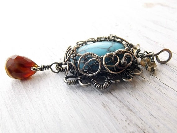 Turquoise Cabochon Sterling Silver Wire Wrapped Pendant.