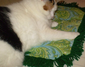 Catnip Mat Crinkle Toy Bed  multi colored Fringe Paisley Green Blue Print