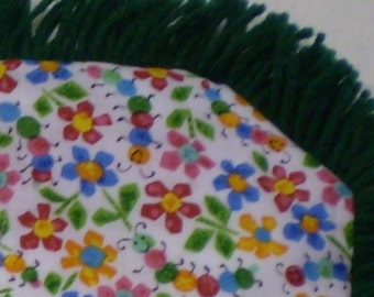 Caterpillar bug and flower print Catnip Crinkle Mat  Toy Pillow Bed, multi color, with choice of fringe color