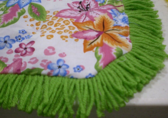 Catnip Crinkle Mat Toy Bed Festive Floral w Lime Fringe        for cats and ferrets Recycled