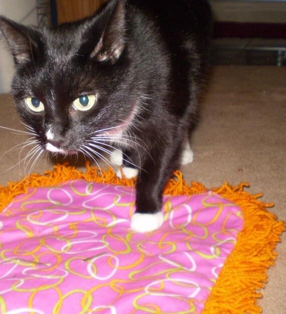 Catnip Crinkle Mat Toy Bed w Neon Orange Fringe Recycled