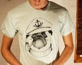 GRAND WAZOO - Captain Pug - Handmade Silk Screen Shirt