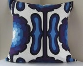 Bold, Floral, Geometic Cushion Cover. 1960s Fabric. Purple. Blue. Black. White. Addy on Etsy.