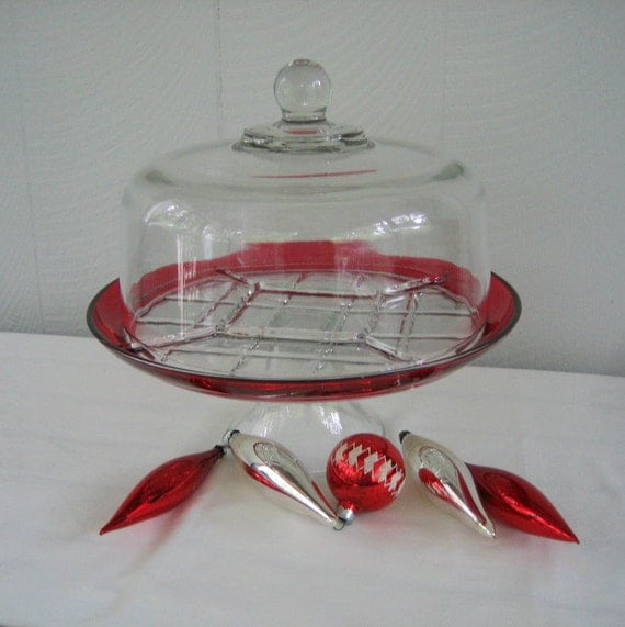 Vintage Cake Stand Red Flashed Glass Dome Cover Addy On