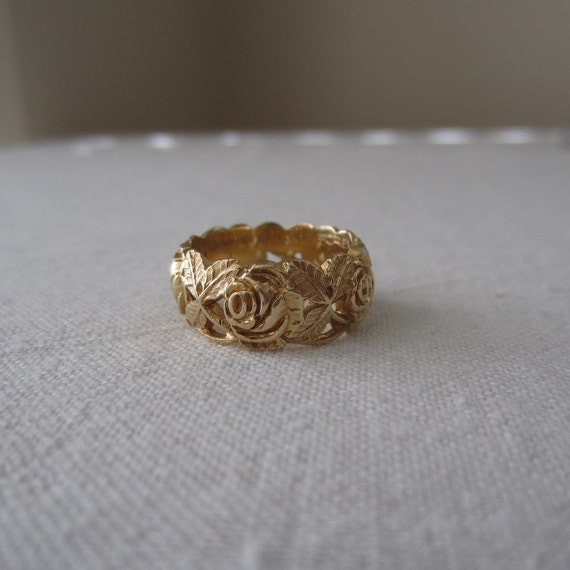 Vintage Wedding Band Artcarved 1970s Floral Rose By Addy