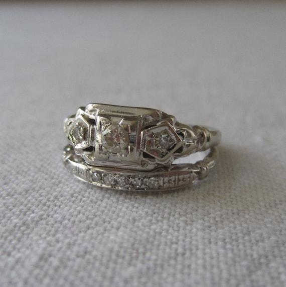 deco wedding ring set deco wedding set engagement ring wedding band diamonds