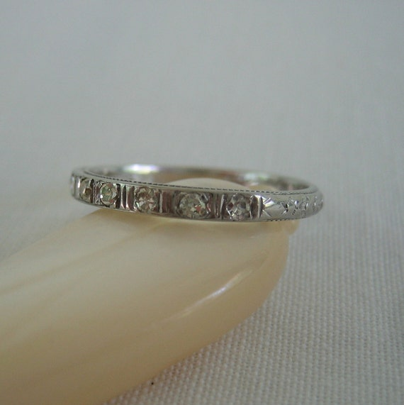 RESERVED. Deco Diamond Wedding Band. Etched White Gold. Addy on Etsy.