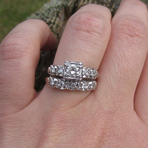 Vintage 1940s White Gold. Diamond. Engagement Ring. Wedding Band. Ships from US. Addy on Etsy.
