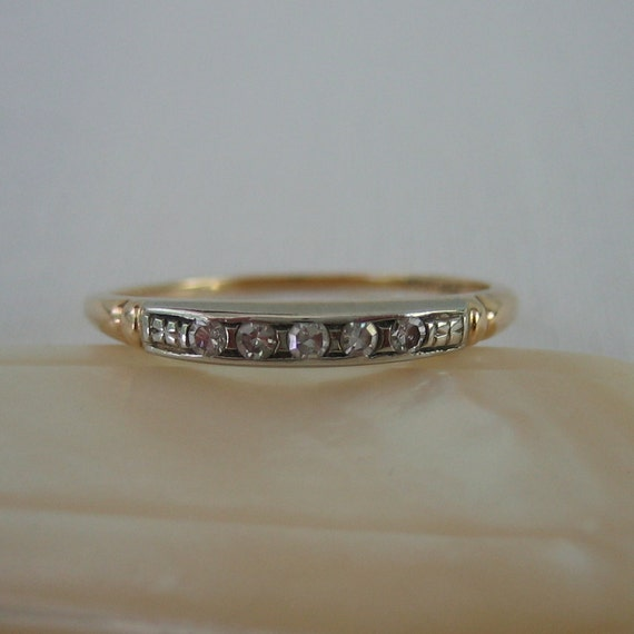 Deco Diamond Wedding Band. White and Yellow Gold. 1930s. Addy on Etsy.