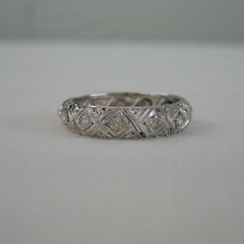 Filigree Ring Bands: Vintage Eternity Wedding Band. Filigree. Platinum. Diamonds