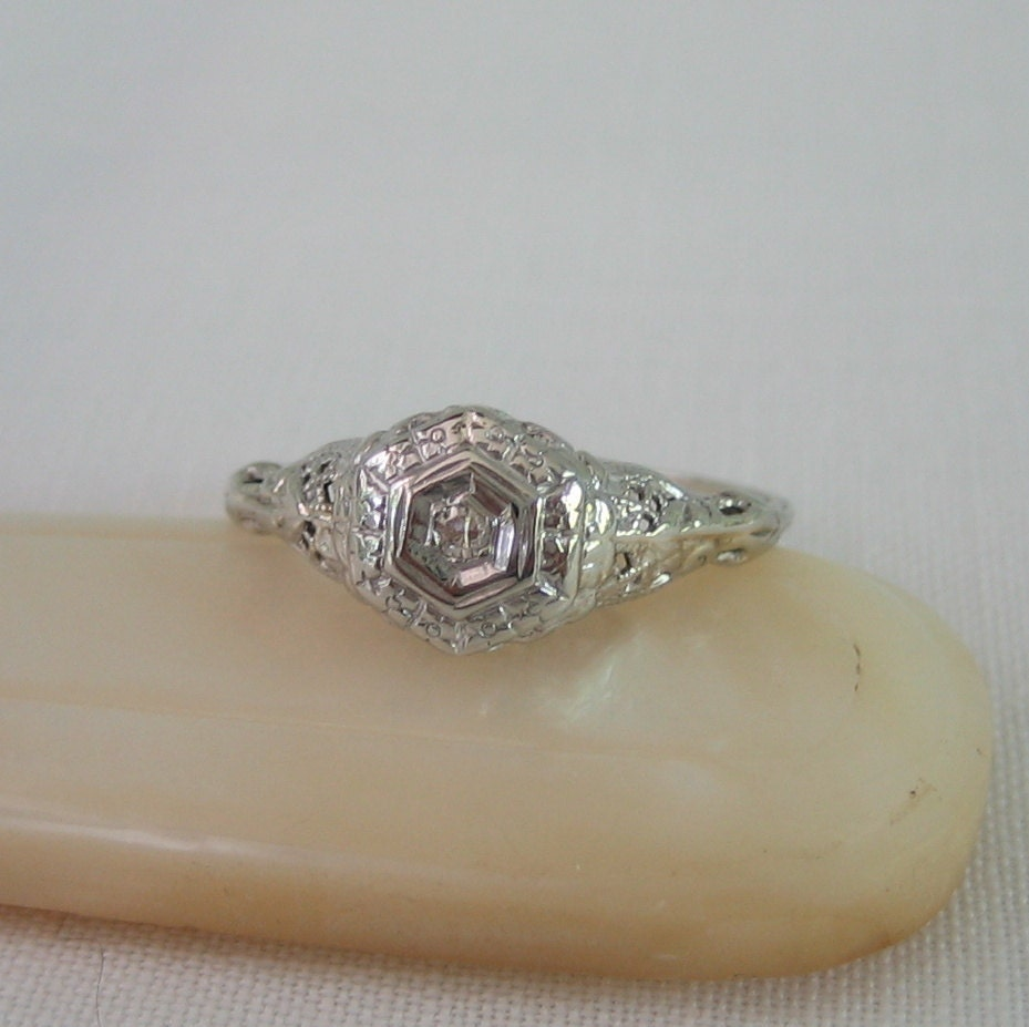 Vintage Diamond Ring Filigree Art Deco Engagement Ring Circa