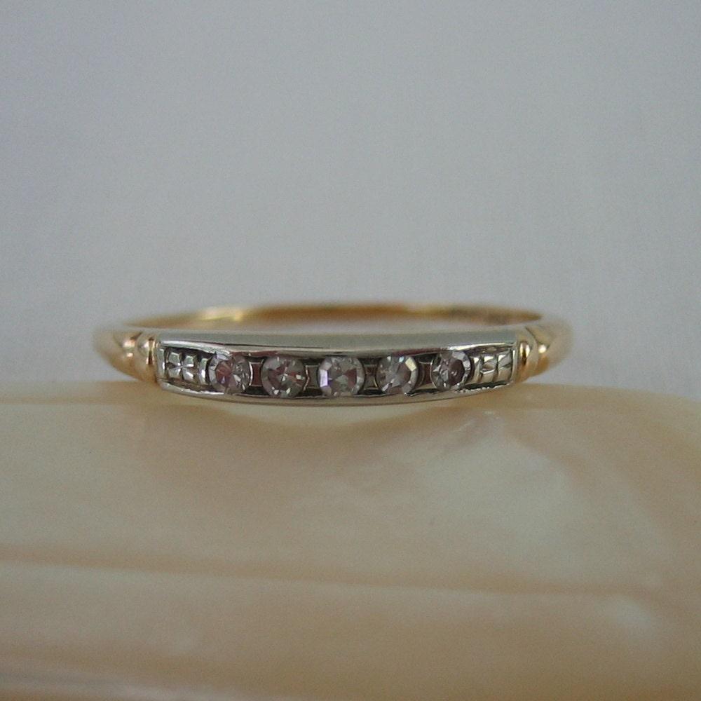 Art Deco Unique Diamond Wedding Ring 14k Two Tone Gold: Deco Diamond Wedding Band. White And Yellow Gold. 1930s. Addy