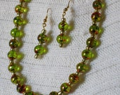Green Glass Bead Necklace and Earing Set