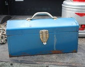 Vintage Rusty and Blue Metal Tool Box with Interior Tray