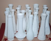 Instant Collection of Twenty Vintage Milk Glass Bud Vases