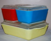 Vintage Complete Set of Pyrex Fridge Dishes in Primary Colors