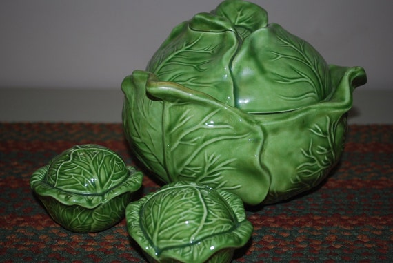 Vintage Cabbage Shaped Ceramic Slaw Server with Matching Salt and Pepper Shakers