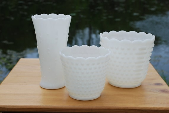 Three Fire King Milk Glass Pieces in Different Sizes