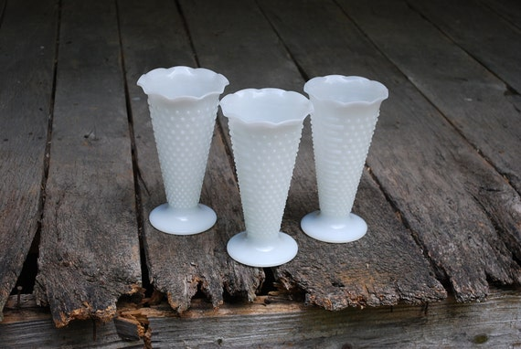 Trio of Large Fire King Milk Glass Hobnail Vases with Ruffled Tops, Wedding Vase