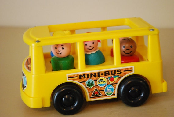 vintage fisher price play family school bus by aglimpsefromthepast. Black Bedroom Furniture Sets. Home Design Ideas