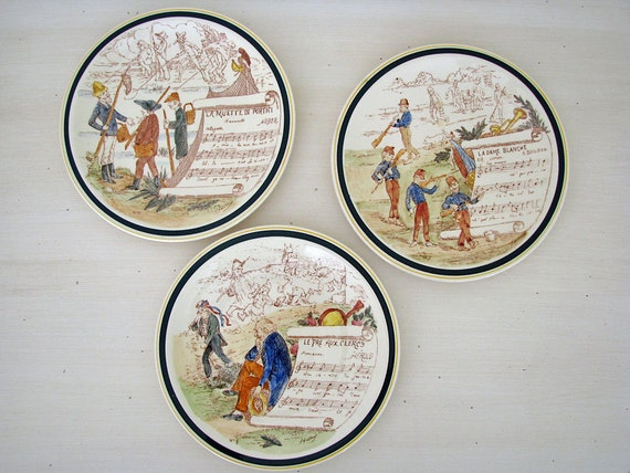 Vernon Kilns French reproduction opera plates, Vernon Kilns salad plate collectibles