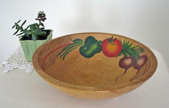 Vintage wood serving bowl, hand painted wood bowl, salad bowl