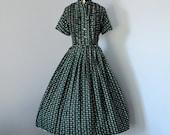1950s Shirtwaist Dress...Vintage 1950s Leighton of Dallas Casuals Black Shirtwaist Dress