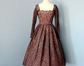 Vintage 1950's Lace Party Dress...Rich Chocolate Brown Lace Party Dress Cocktail Dress Bridesmaid Dress