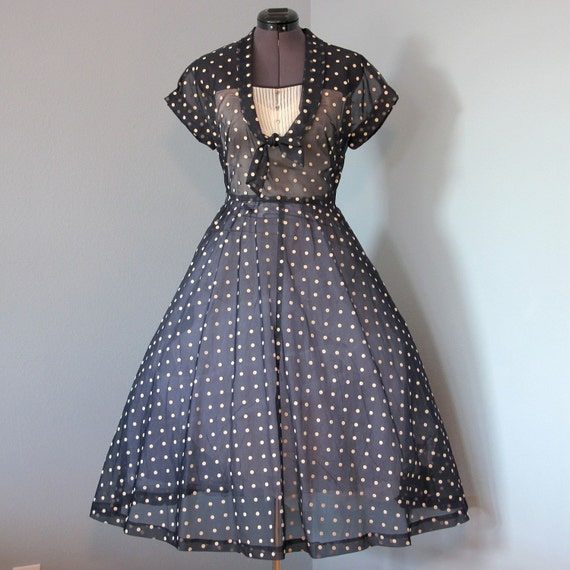 1950s Navy Day Dress...Dressy Sheer Navy Blue and Cream Polka Dot Organza Day Dress
