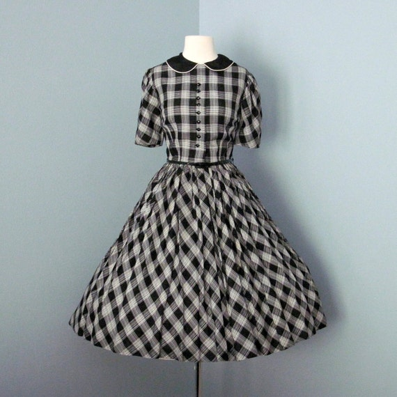 Reserved for Elena Vintage 1960s Day Dress...Adorable 1960's Black and White Mr. Mac Jrs. Day Dress Mad Men