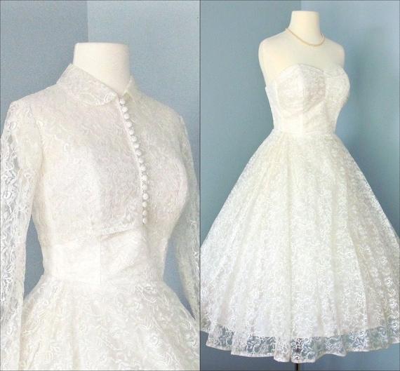 Vintage Tea Length Wedding Dress...Beautiful Creamy White 1950s Lace Tea Length Wedding Dress with Cropped Jacket  XS