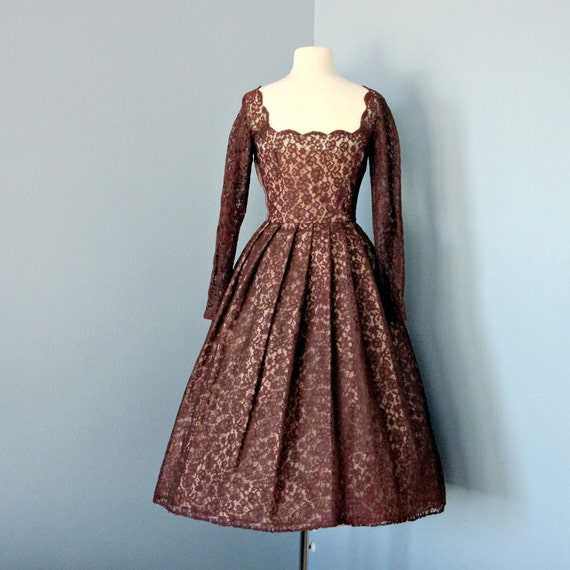 Vintage 1950's Lace Party Dress...Rich Chocolate Brown Lace Party Dress Cocktail Dress Bridesmaid Dress