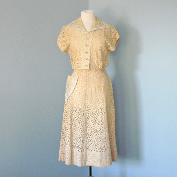 Vintage Lace Party Dress...Lovely Vintage 1950s Golden Beige Manford Casuals Lace Party Dress
