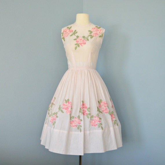 Pale Pink Vintage Dress...Pale Pink Cotton 1950s Jeanne D'arc Embroidered Floral Dress with Full Skirt Party Dress