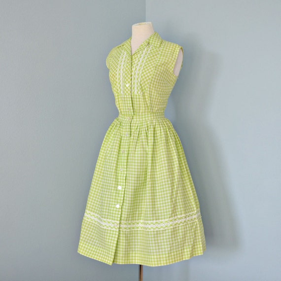Vintage Cotton Dress...Cute 1960&39s Cotton Green and by deomas