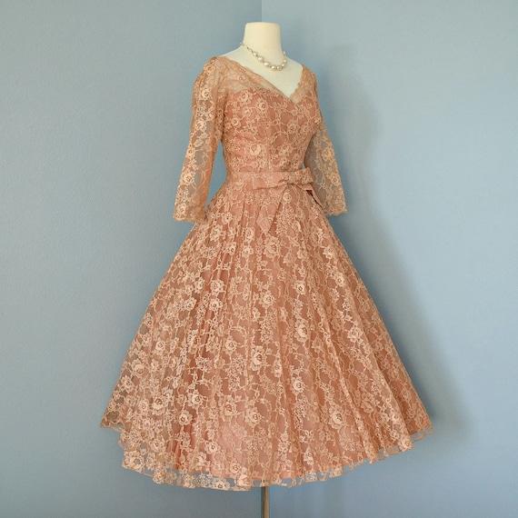 Vintage Lace Wedding Dress...Beautiful 1950's Deep Apricot Tea Length Floral Lace Wedding Dress Party Dress