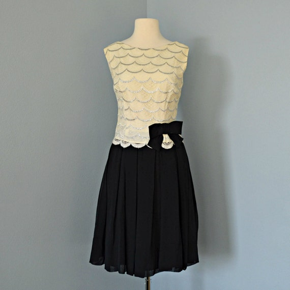 Vintage Partyl Dress...Beautiful 1960's Lace and Chiffon Cocktail Dress Mad Men