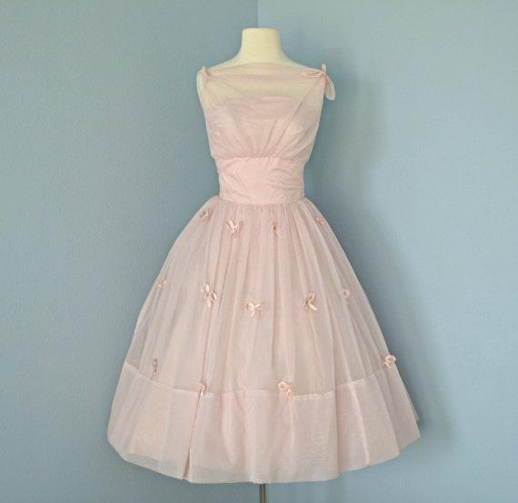 Vintage Pink Wedding Dress...Beautiful 1950's Pale Pink Chiffon Wedding Dress Party Dress