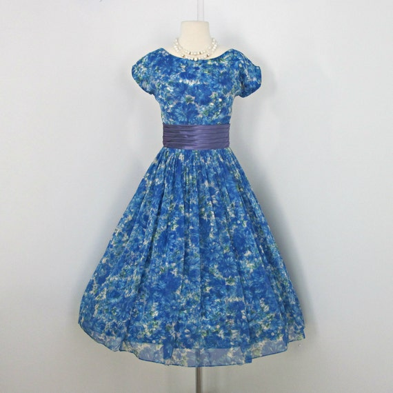 RESERVED FOR CHERYL Vintage Party Dress...Beautiful 1950's Vibrant Blue Floral Print Chiffon Party Dress Cocktail Dress Bridesmaid