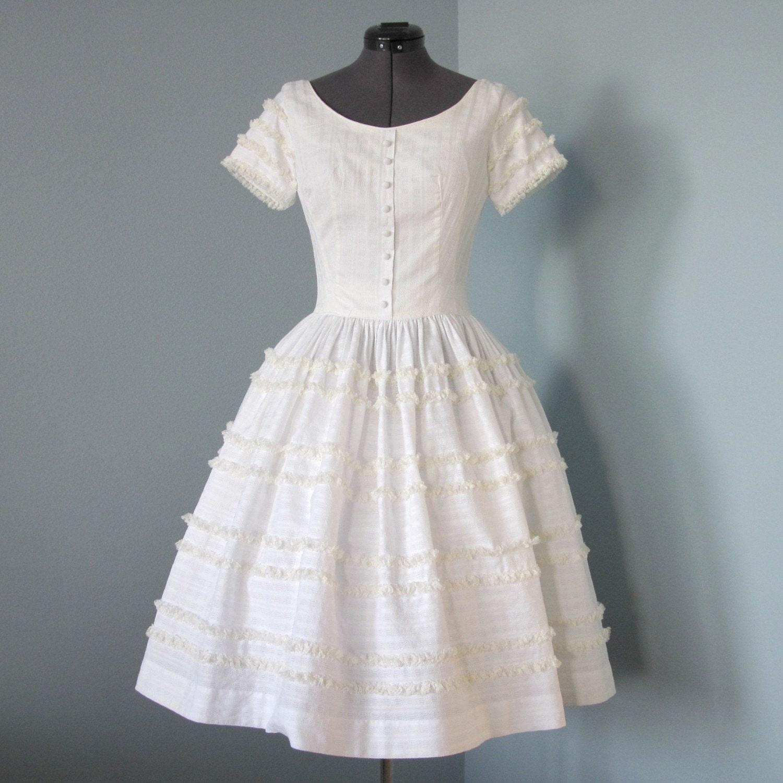 Vintage 1950s White Cotton Lou Ette Street Length Wedding