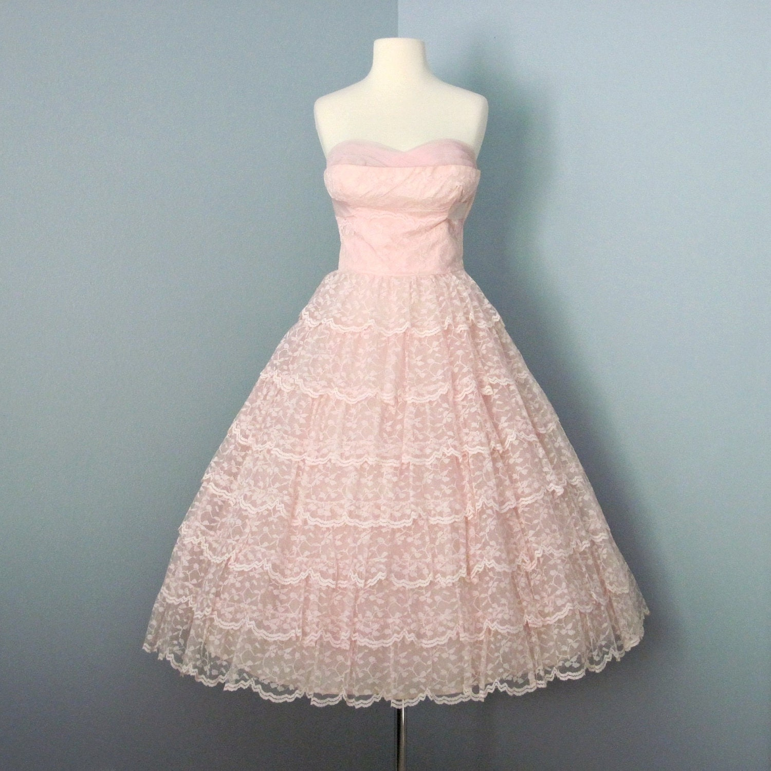 1950s Prom Dress Pale Pink Vintage Lace Tulle Wedding Dress
