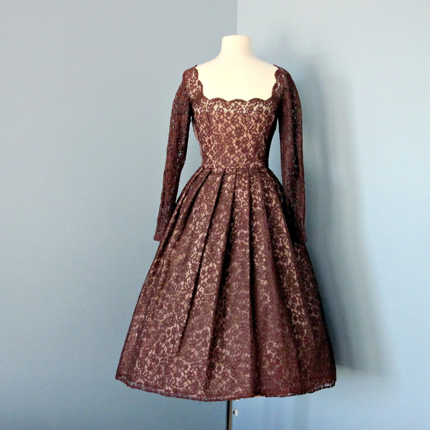 Vintage 1950's Lace Party Dress...Rich Chocolate Brown