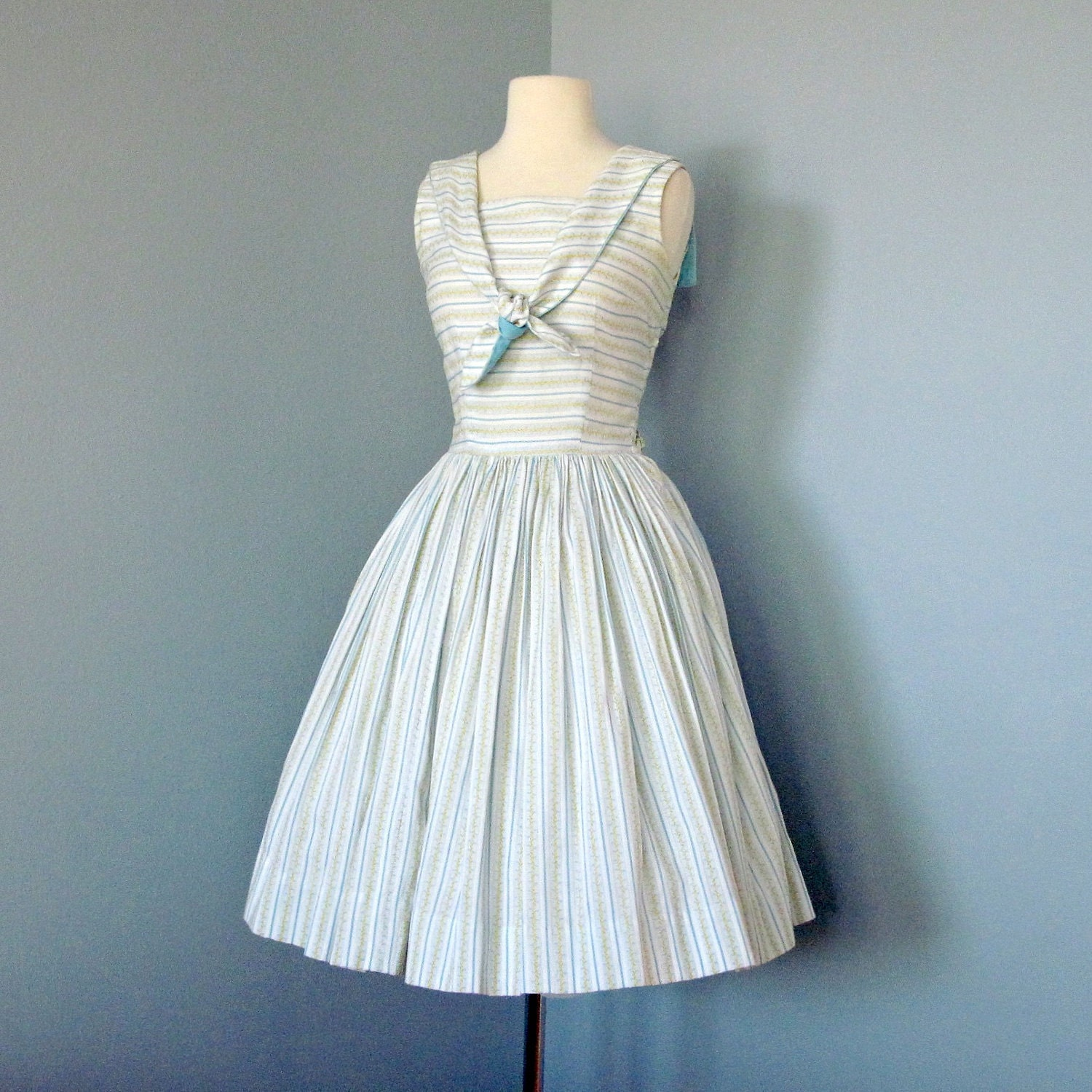 Vintage Day Dress / Striped 1960s Blue and White Cotton by deomas