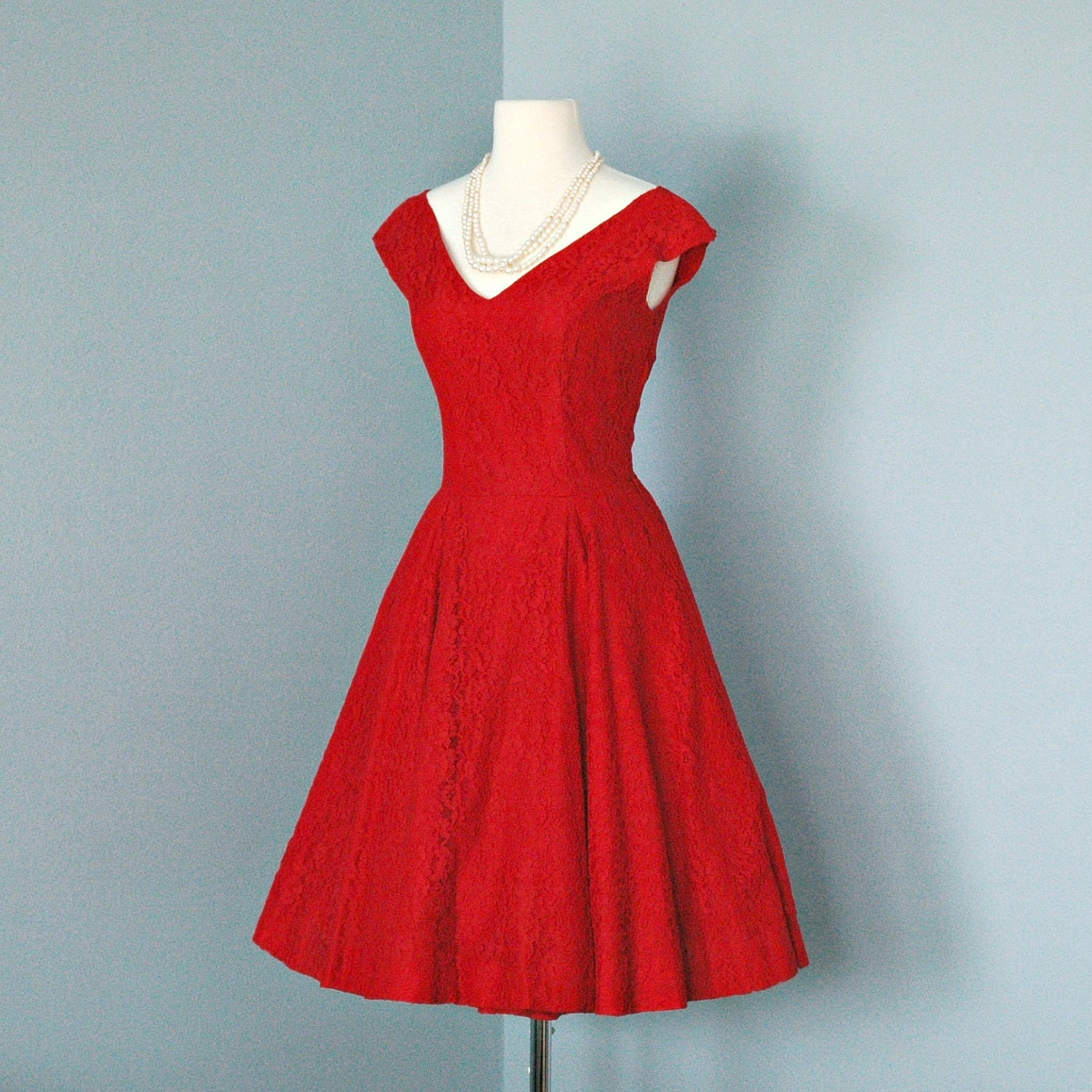 Vintage Valentine Red Lace Cocktail Dress...Beautful 1950s
