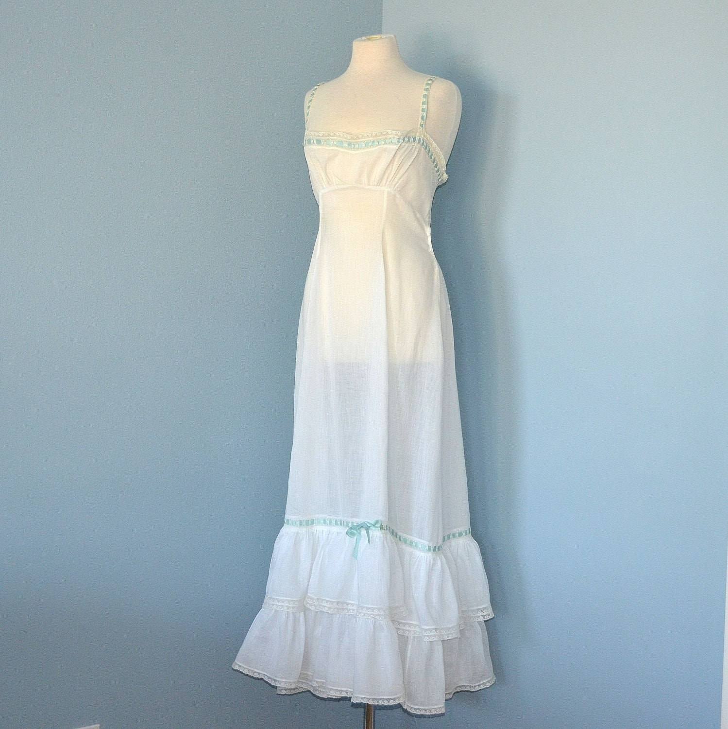 Victorian Nightgown Beautiful Vintage 1910 Era Semi Sheer