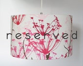 RESERVED FOR CODOLE Linen Lampshade with Pink Floral Pattern