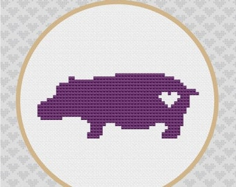 Hippo Silhouette Cross Stitch PDF Pattern 1