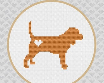 Beagle Silhouette Cross Stitch PDF Pattern