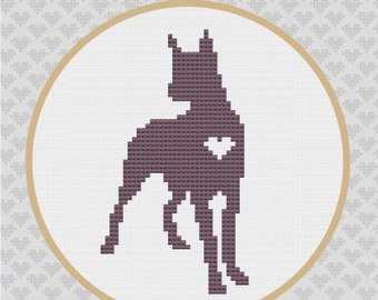 Great Dane Silhouette Cross Stitch Pattern