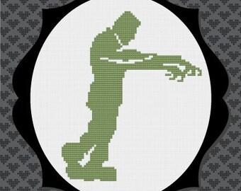 40% OFF code: CYBERMONDAY40- Frankenstein Silhouette Cross Stitch Pattern 2